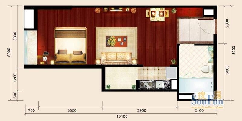 骏御华庭05户型 1室面积:46.00平米