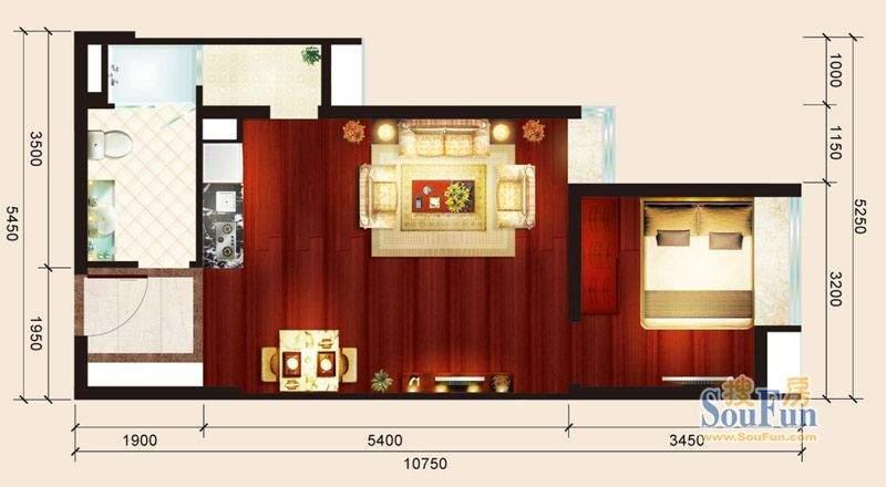 骏御华庭07户型 1室面积:53.00平米