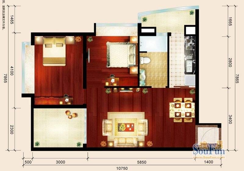 骏御华庭08户型 2室面积:70.00平米