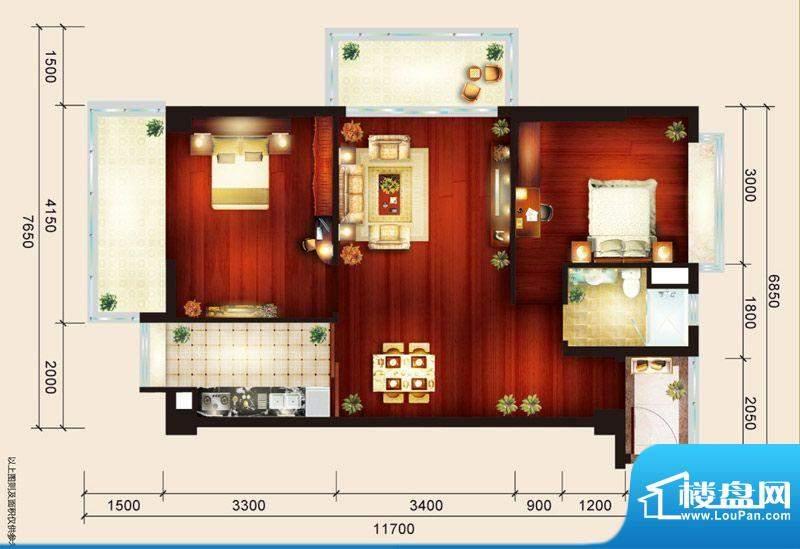 骏御华庭09户型 2室面积:80.00平米