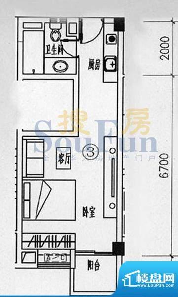 骏御华庭B栋203户型面积:60.00平米