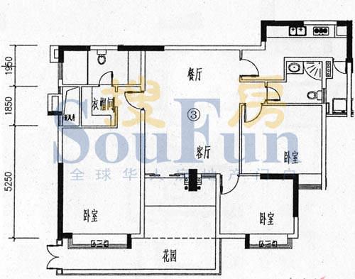 骏御华庭A栋(1-11层面积:100.00平米