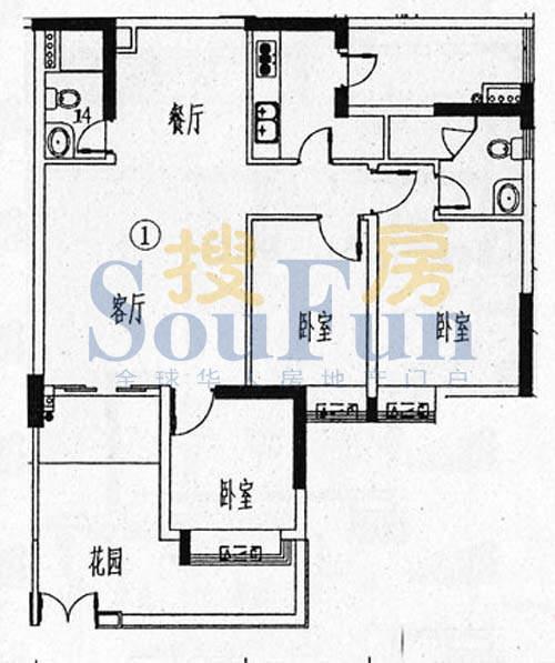 骏御华庭A栋(1-11层面积:120.00平米