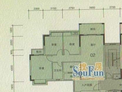 大城云山A2/A4栋02户面积:106.00平米