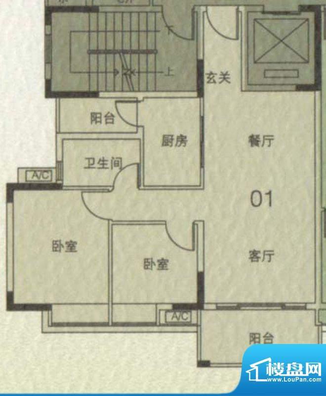 大城云山A1栋01单元面积:83.00平米