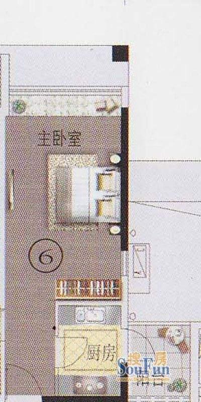 东湖映月F2栋06户型面积:33.92平米