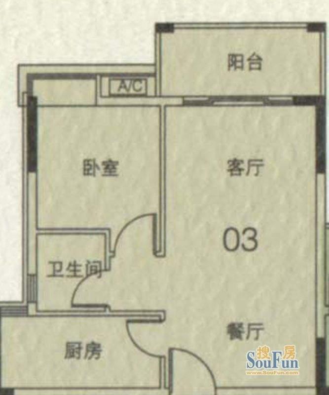 大城云山A1栋03单元面积:55.31平米