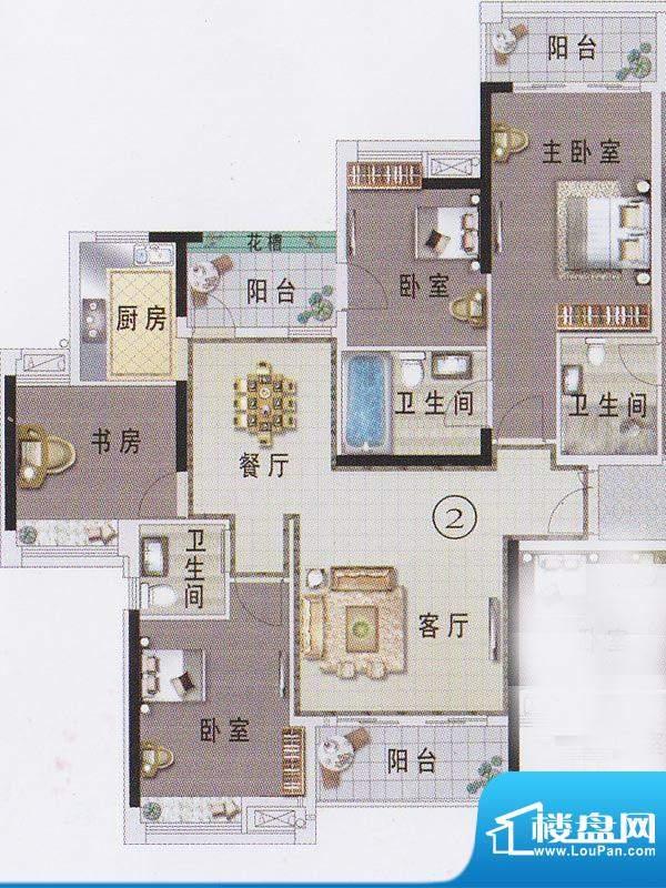 东湖映月F1栋02户型面积:127.83平米