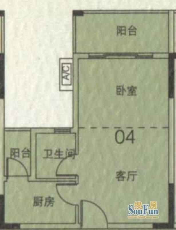 大城云山A1栋04单元面积:43.09平米