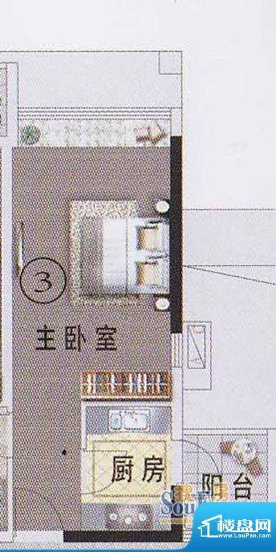 东湖映月F1栋03户型面积:33.92平米