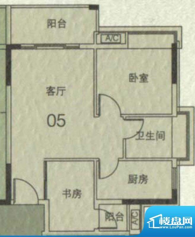 大城云山A1栋05单元面积:58.35平米