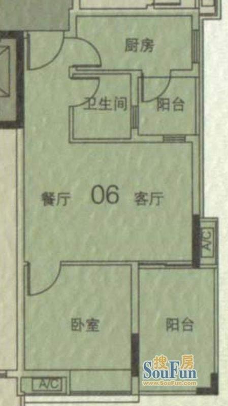 大城云山A1栋06单元面积:55.25平米