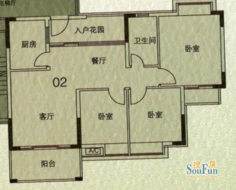 大城云山A5栋02单元面积:96.43平米