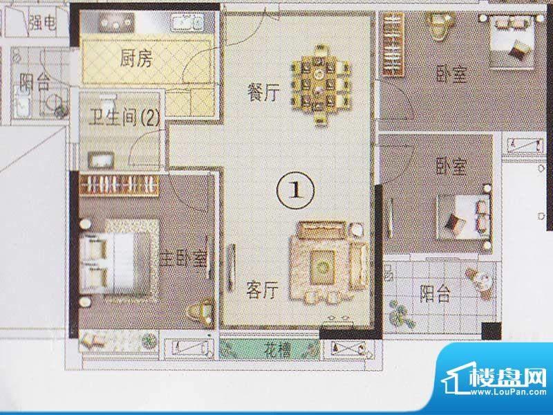 东湖映月F2栋01户型面积:87.35平米