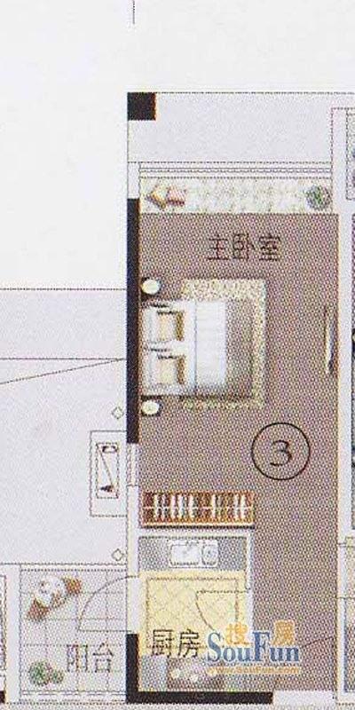 东湖映月F2栋03户型面积:33.92平米