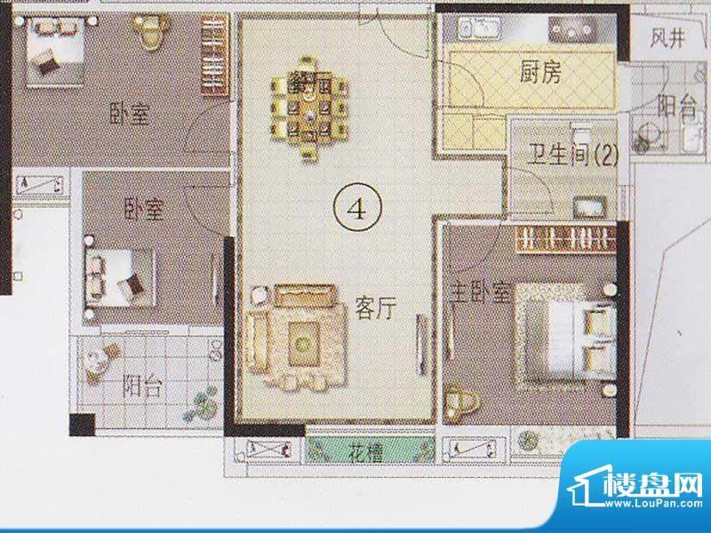 东湖映月F2栋04户型面积:87.35平米