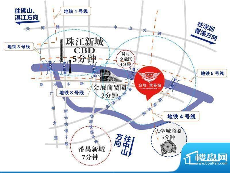 会展世界城交通图