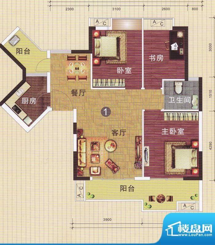 摩登华雅轩1-2号楼0面积:96.61平米
