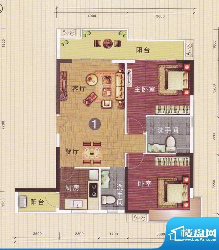 摩登华雅轩3号楼01单面积:97.75平米
