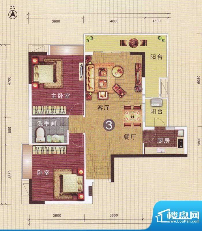 摩登华雅轩3号楼03单面积:96.93平米
