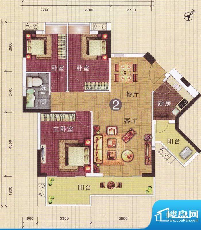 摩登华雅轩3号楼02单面积:96.49平米