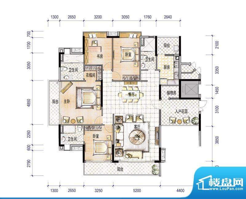 会展世界城F1栋01户面积:195.40平米