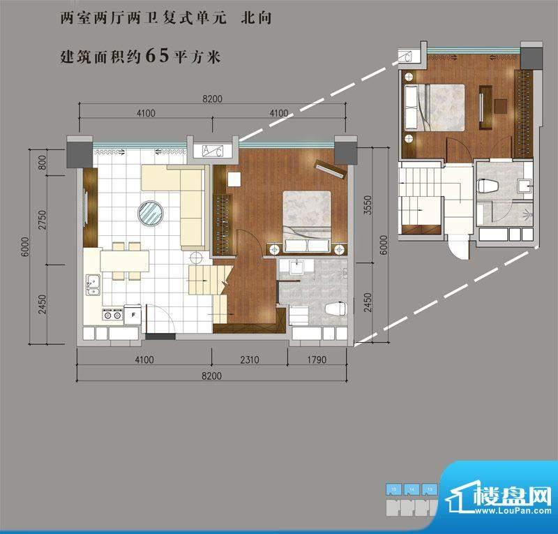 兴普·紫园国际65平面积:65.00平米