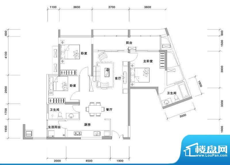 兰亭国际名园2座FG户面积:132.00平米
