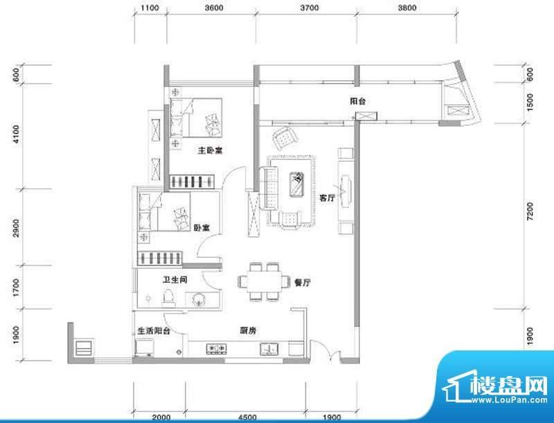 兰亭国际名园2座FG户面积:106.00平米