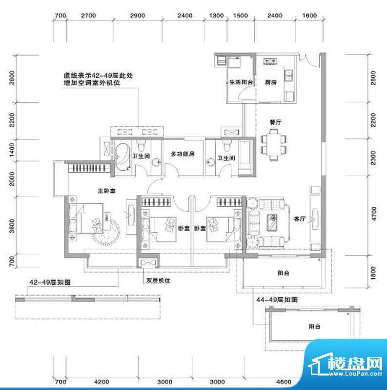 兰亭国际名园2座BC户面积:159.00平米