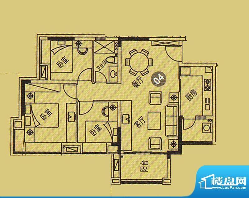 紫薇丽都6栋04户型 面积:82.85平米
