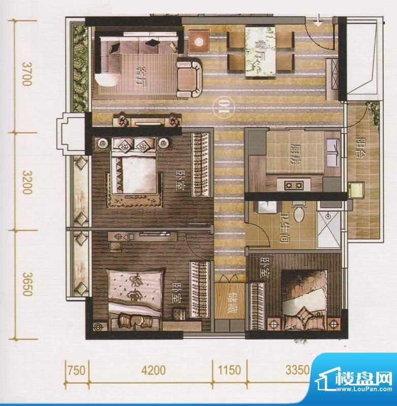 保利天悦公寓01单位面积:116.43平米