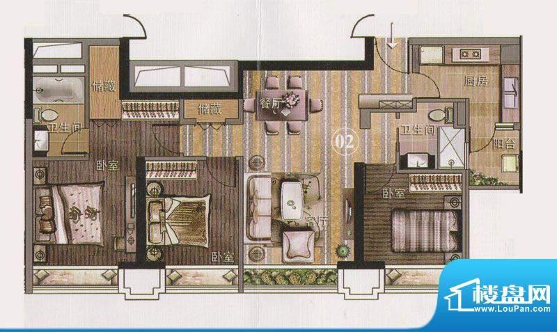 保利天悦公寓02单位面积:111.69平米