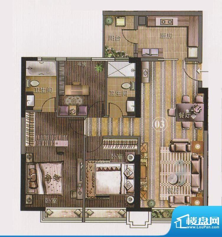 保利天悦公寓03单位面积:127.02平米
