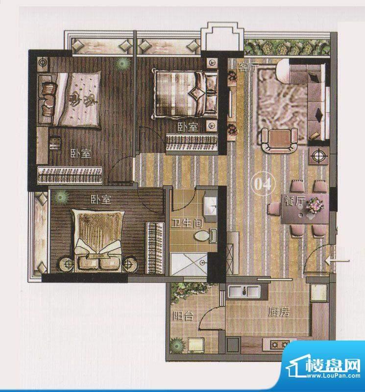 保利天悦公寓04单位面积:108.71平米