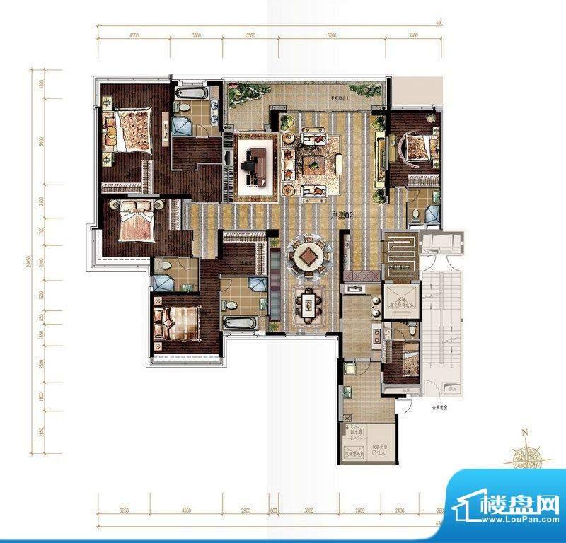 保利天悦2-5栋标准户面积:370.85平米