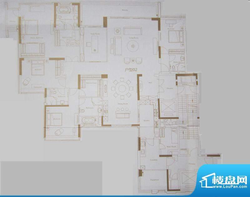 保利天悦2-5栋02户型面积:370.85平米