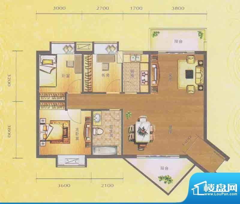 水木箐华A户型 3室2面积:96.60平米