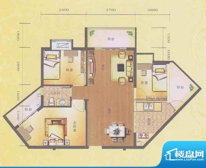 水木箐华C户型 3室2面积:89.60平米
