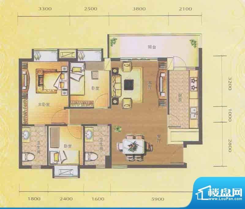 水木箐华D1户型 3室面积:92.30平米