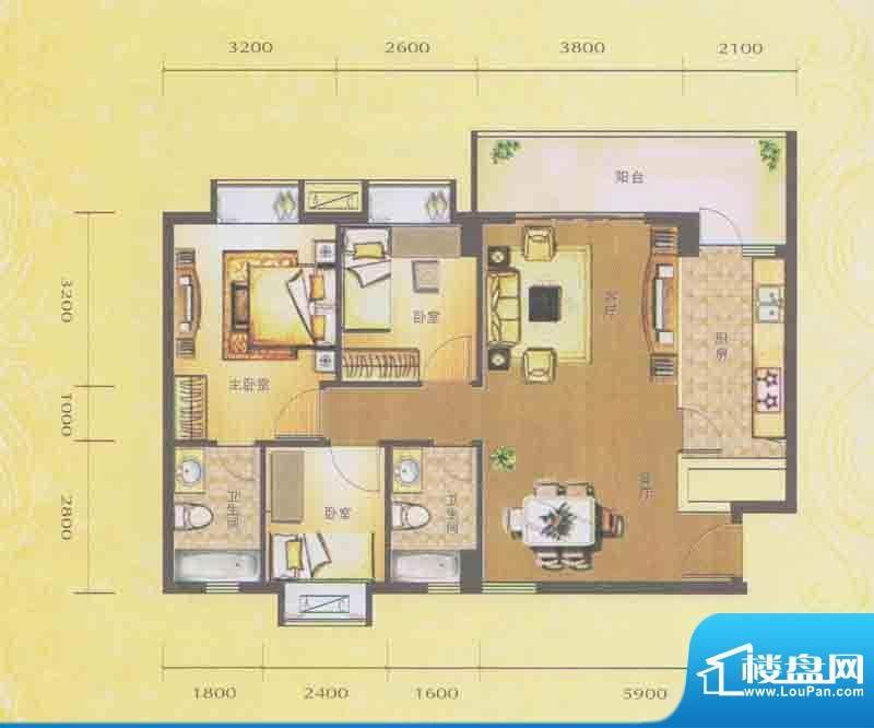 水木箐华D户型 3室2面积:92.10平米