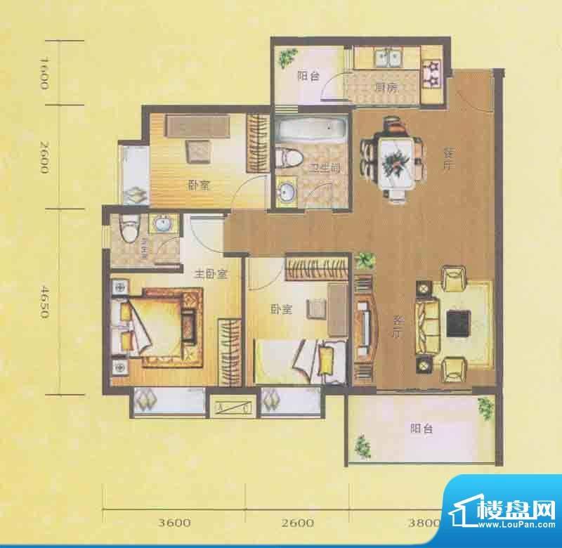 水木箐华E户型 3室2面积:90.30平米