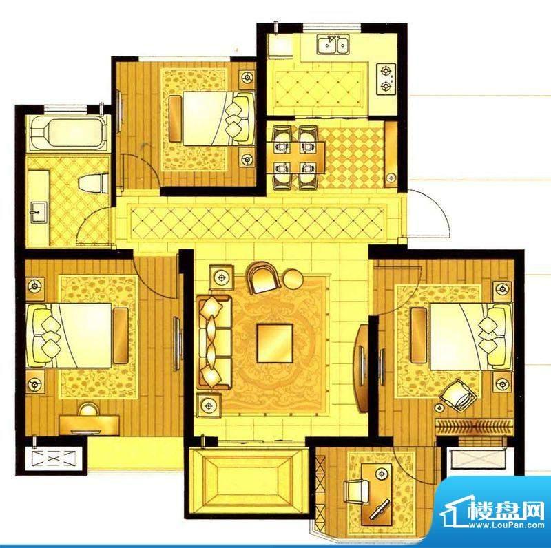 轩和苑B2户型 2室1厅面积:91.62平米