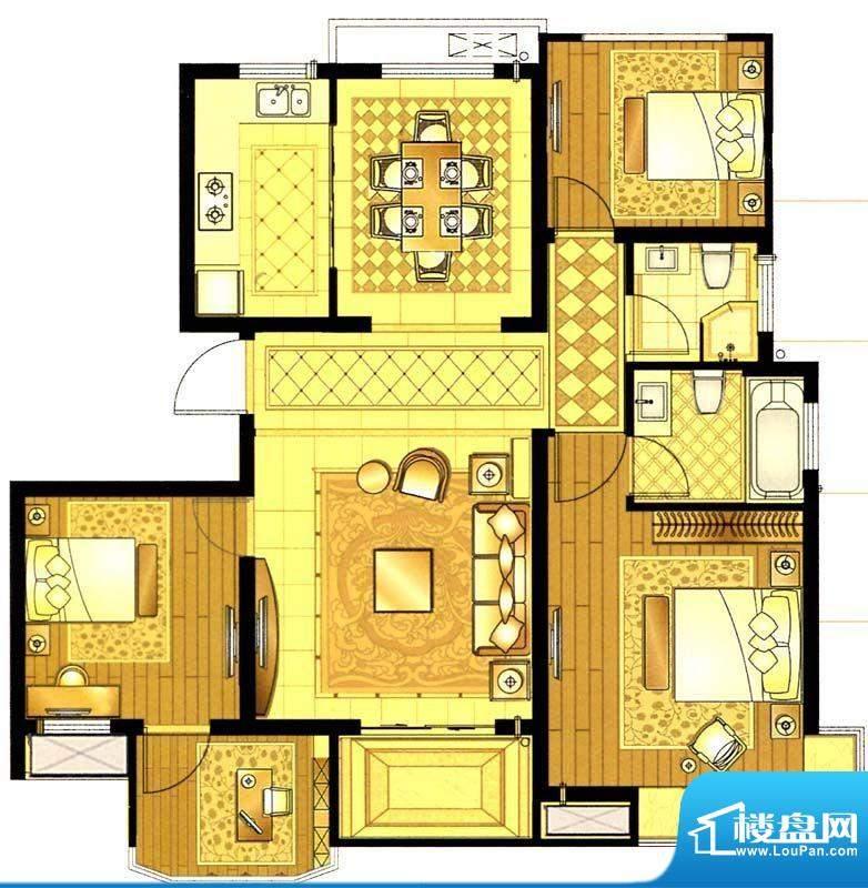 轩和苑B1户型 3室1厅面积:103.61平米