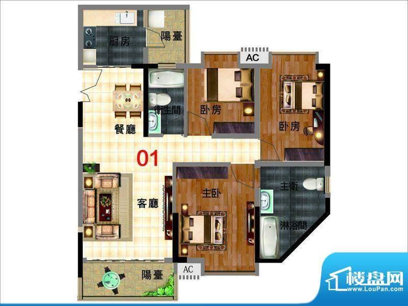 颐和盛世2号楼御景台面积:100.76平米