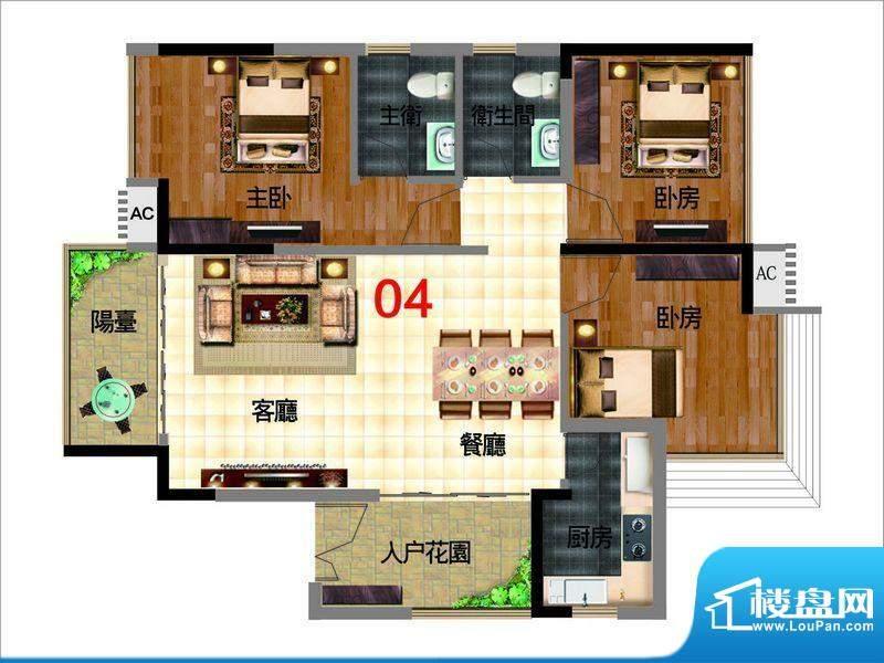 颐和盛世2号楼御景台面积:102.00平米