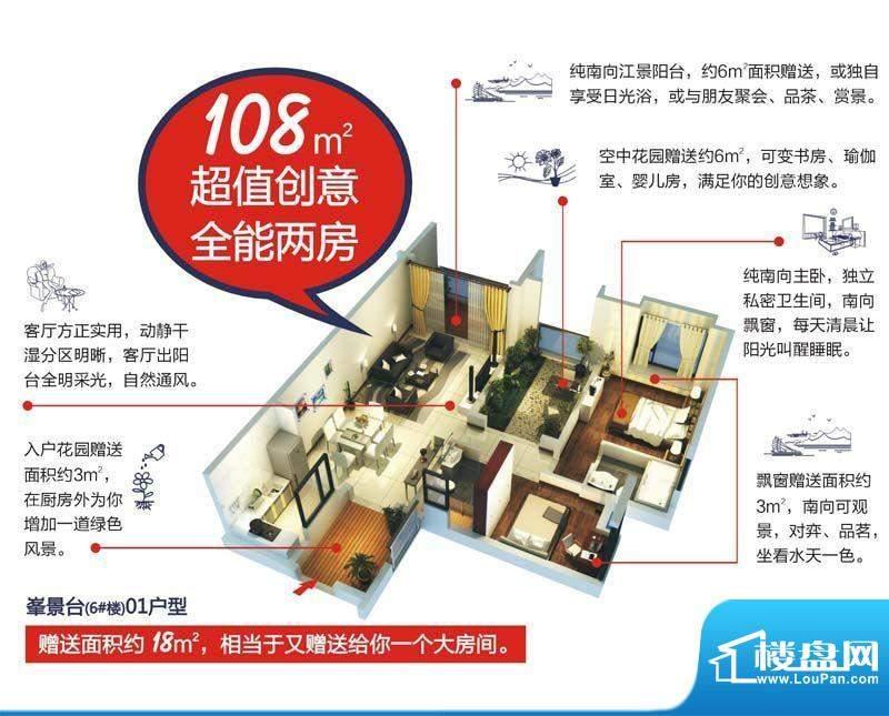 颐和盛世6号楼(峯景面积:108.00平米