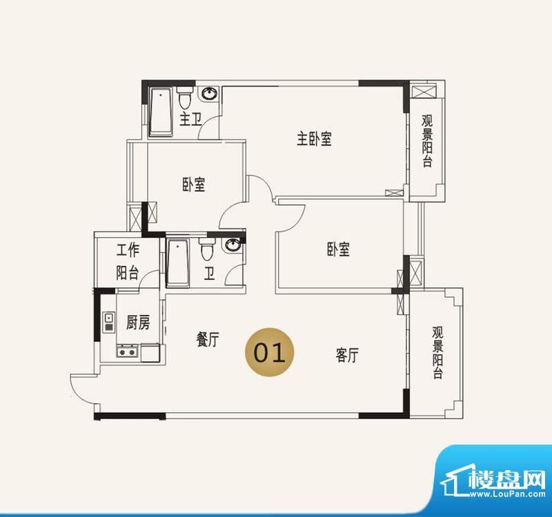 宜家水岸花园13幢2-面积:88.58平米