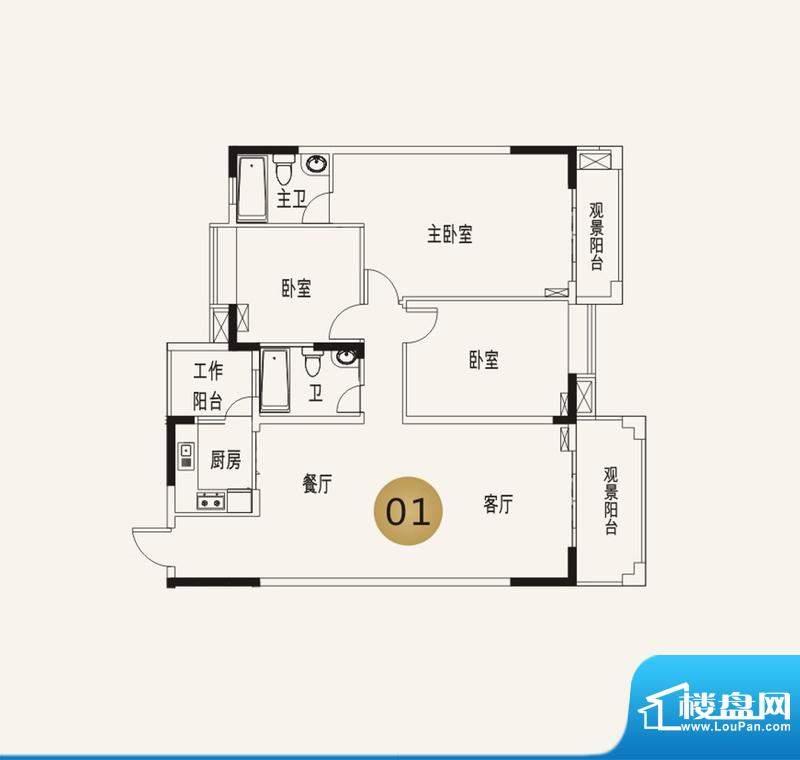 宜家水岸花园13幢7层面积:133.53平米