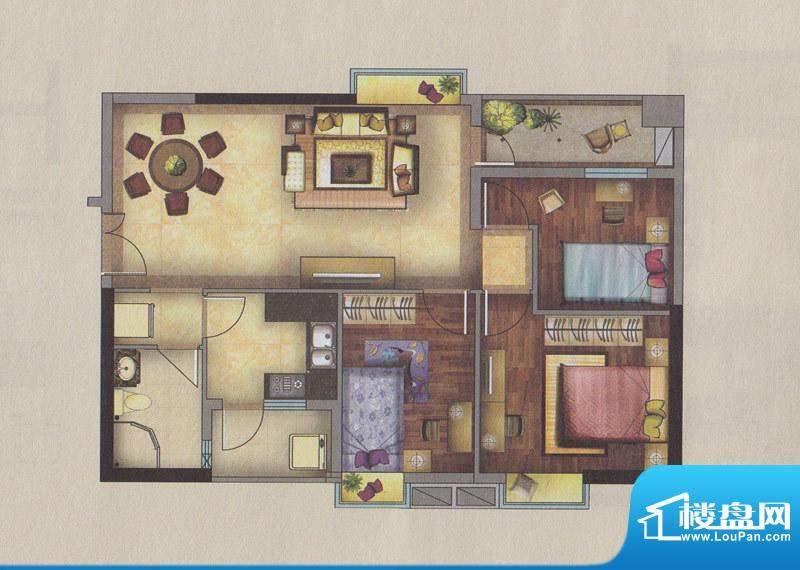新一城广场H06户型图面积:97.16平米